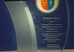 Podziękowanie dla Markmed ze Starostwa Powiatowego za współpracę w roku 2012