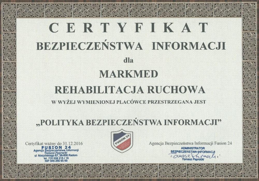 certyfikat bezpieczenstwa informacji